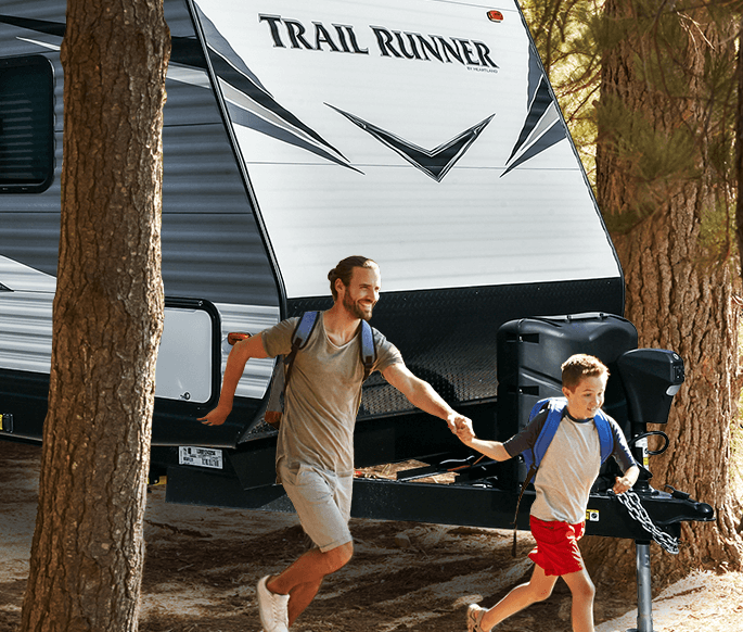 Heartland Trail Runner and Family Camping, Father and Son Running